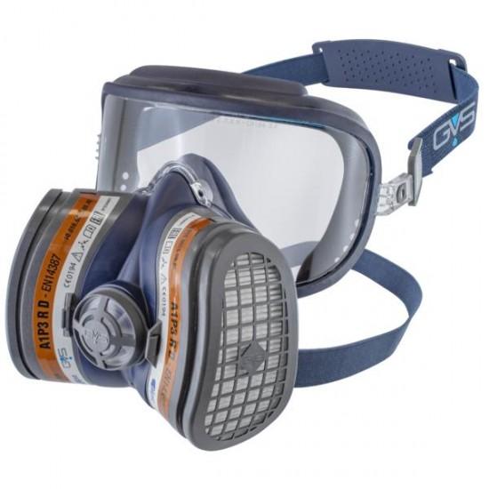 GVS Elipse Integra Hengityssuojain A1P3 RD vaihdettavilla hiukkas- ja kaasusuodattimilla, Sininen S-M