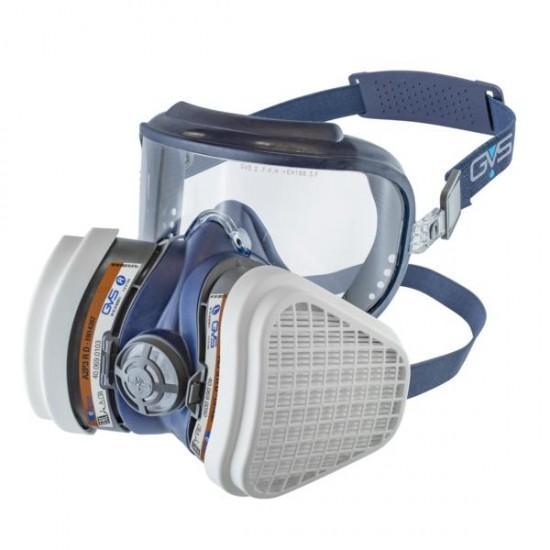 GVS Elipse Integra Hengityssuojain A2P3 RD vaihdettavilla hiukkas- ja kaasusuodattimilla, Sininen S-M