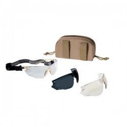 Bollé Tactical Combat Kit Aurinko-/suojalasipakkaus, ballistinen suojaus, nauha + kotelo + 3x linssit, Beige
