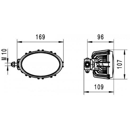 Hella Oval 100 LED Compact, sivukiinnitys, lähikuvio